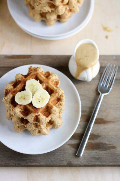 vegan peanut butter banana whole wheat waffles with pb banana sauce by ...