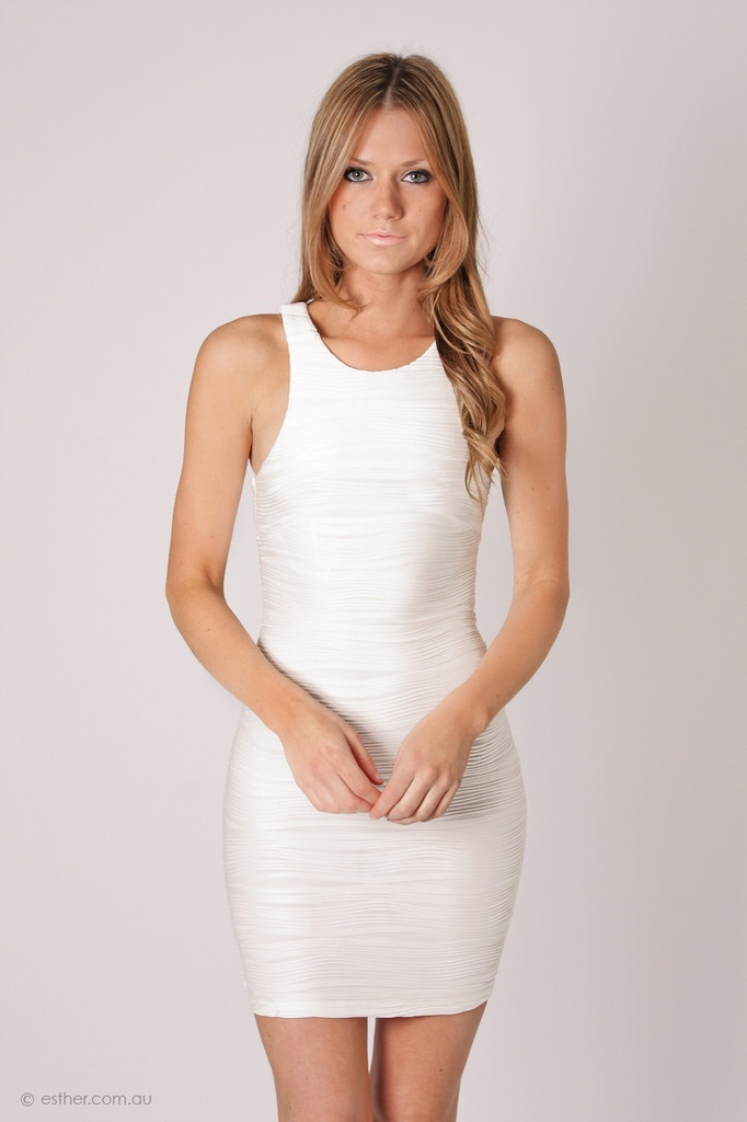 coin high neck ribbed cocktail dress- white