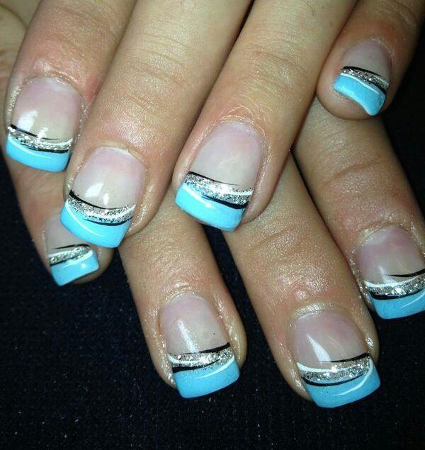 Blue gel nails | Nails | Pinterest