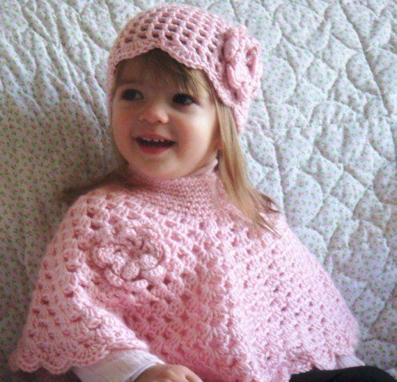 Free Crochet Poncho Pattern For Little Girl : Pink Baby Poncho and Hat, Little Girls Poncho Set, Crochet ...