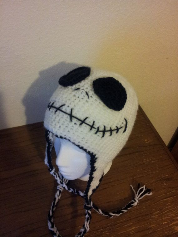 Crochet Jack Skellington : Custom Jack Skellington Crocheted Skeleton Hat Nightmare Before Chris ...