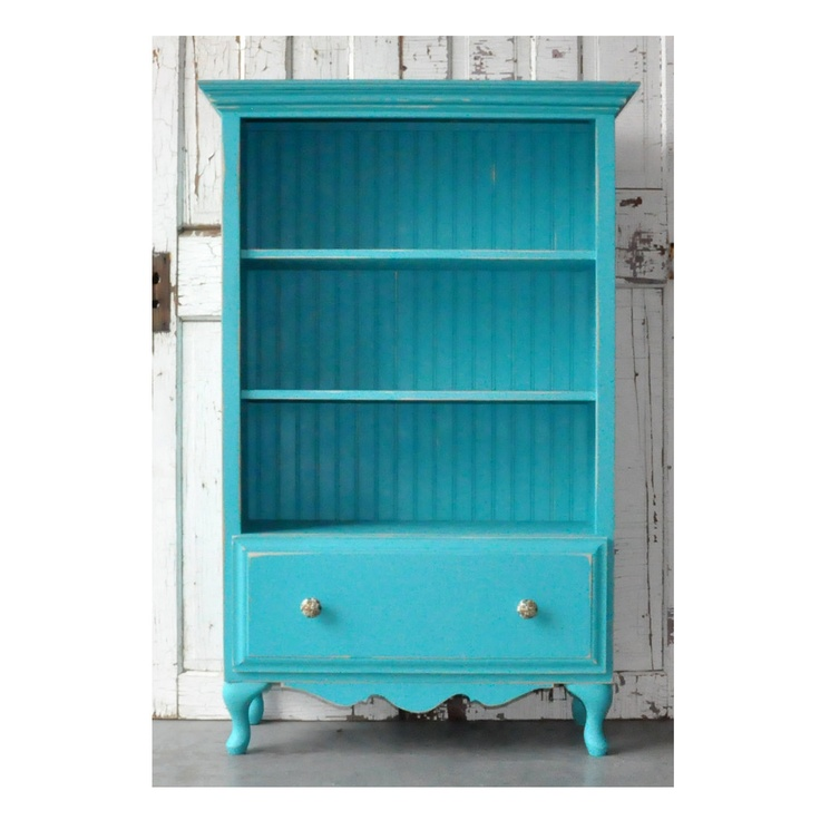 Bookcase with Drawer in Distressed Vintage Turquiose