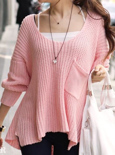 #Pink #Tender #Single #Pocket #Bat #Type #Sweater