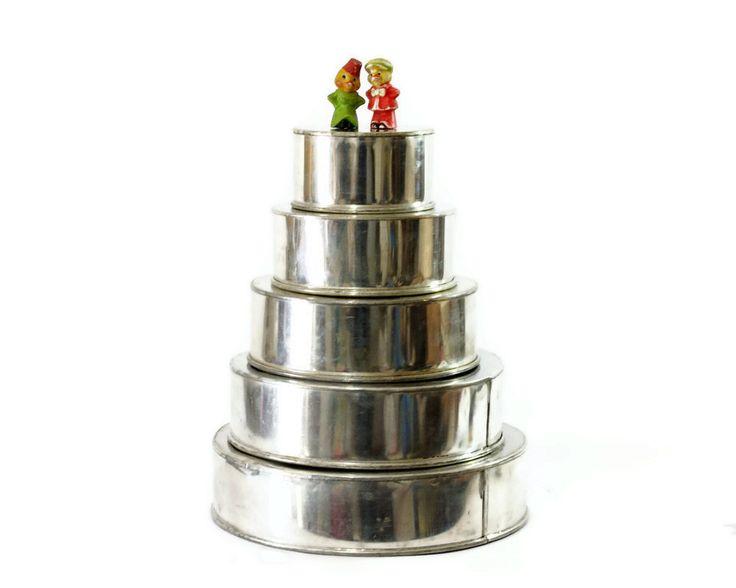 Wedding Cake Pan Set Five Tier Round Heavy Gauge By GizmoandHooHa 65