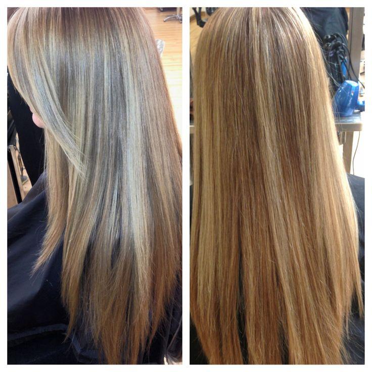 Highlights long hair aveda highlights side bangs hair