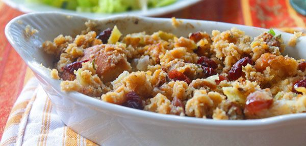 Stuffing with Cornbread, Sweet Italian Sausage, and Cranberries