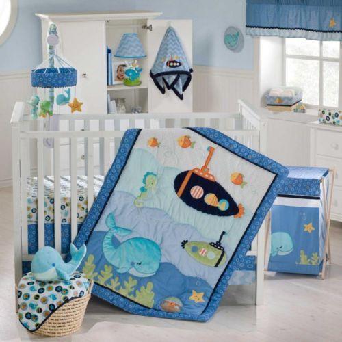 ... Underwater Ocean Whale Submarine Baby Boy Nautical Crib Bedding w