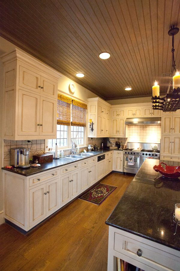 Kitchen cream cabinets wood ceiling crittersitters for Wood ceiling kitchen ideas