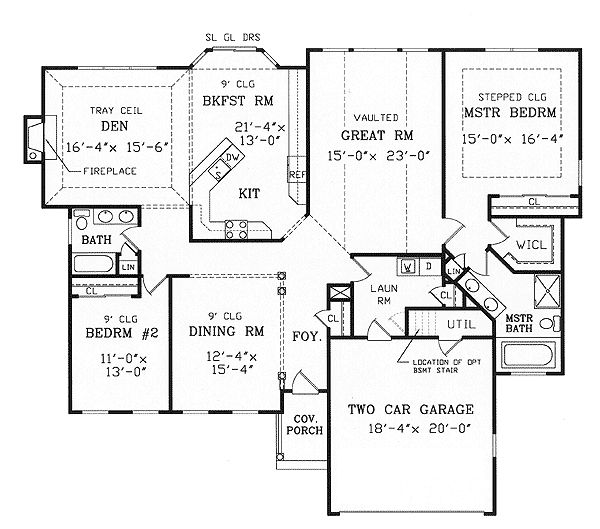 Split bedroom ranch for modest lot Split bedroom ranch house plans
