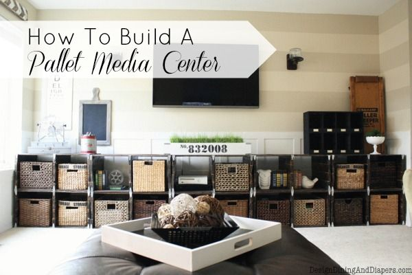 Build an awesome pallet wood media centre! - By Design, Dining and Diapers featured on I Love That Junk