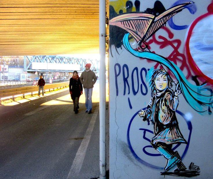Wonderfully Whimsical Street Art by Alice Pasquini