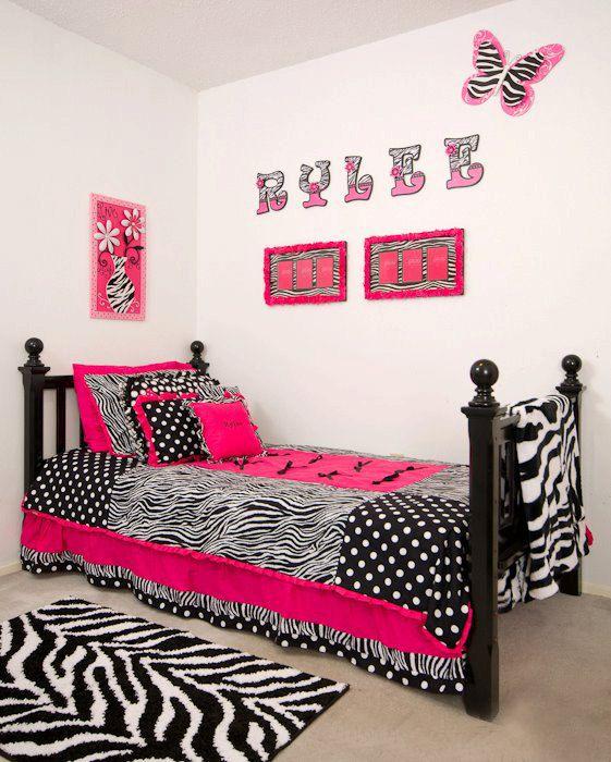 Custom made twin hot pink zebra bedding sets free for Girl zebra bedroom ideas