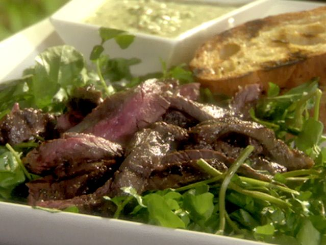and Grilled Skirt Steak with Wilted Watercress and Salsa Verde ...