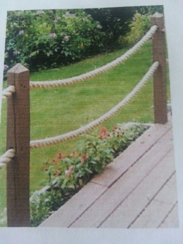 Rope railing future cottage pinterest for Garden decking with rope