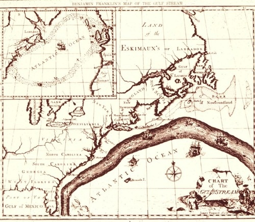 The earliest known map of the Gulf Stream, created by Benjamin Franklin in 1768.