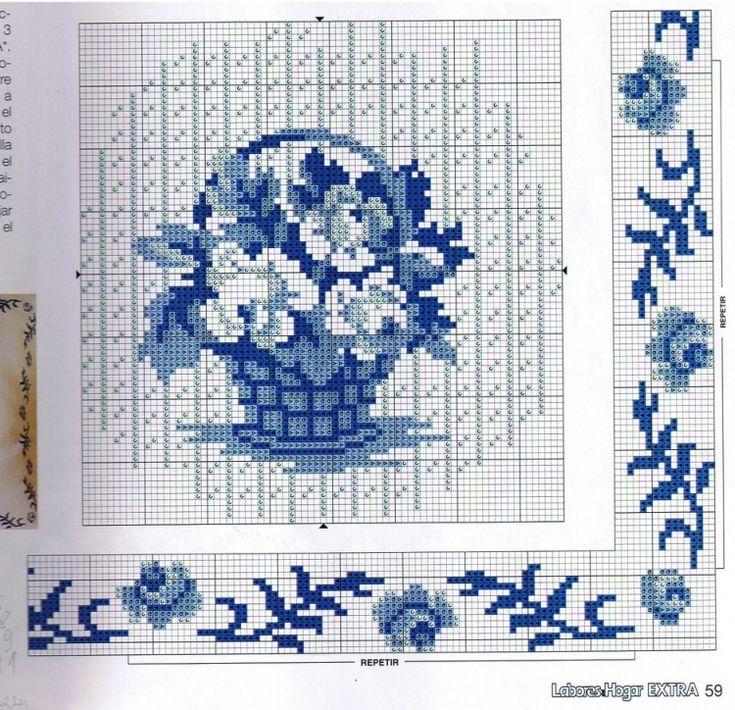 Вышивка крестом цветы синие 84