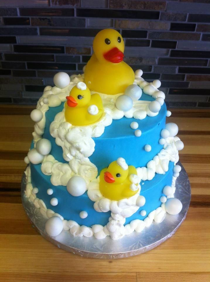 Baby shower cakes baby shower cake ideas with ducks for Baby cakes decoration ideas