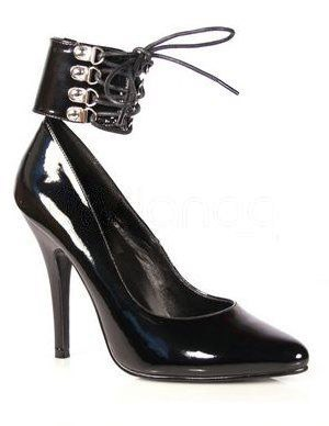 High Heel Black PU Ankle Strap Fashionable Shoes For Women