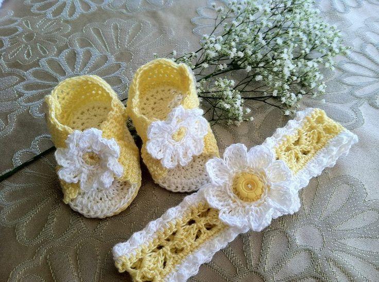 Daisy Baby Booties Sandals & Headband, Crochet Pattern ...