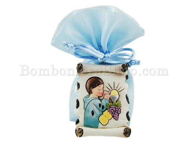 Pergamena in resina decoro Bambino Prima Comunione con scatola e confetti