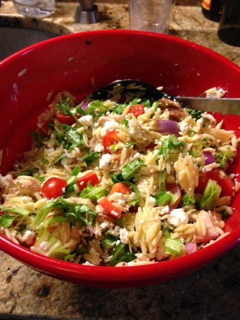 Chicken Orzo Salad with Goat Cheese. Such a yummy, refreshing dish!