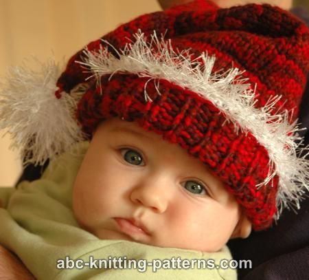 Knitting Pattern For Infant Santa Hat : ABC Knitting Patterns - Santa Baby Hat. Winter Holidays Pinterest