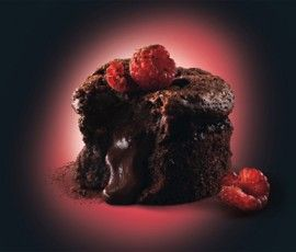 Dark Chocolate Fondant: Hot molten chocolate seeping out of a ...