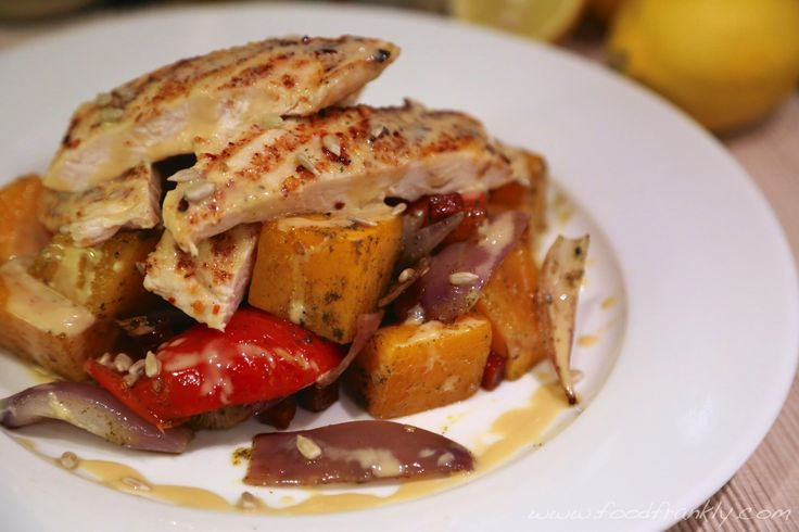 Grilled chicken with za'tar roast vegetables and tahini dressing.