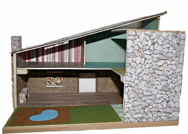 Mid Century Dollhouse Handcrafted Modern