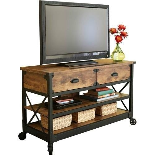 Tv stand 52 rustic country antiqued sofa table wheeled for Table stand i 52 compose
