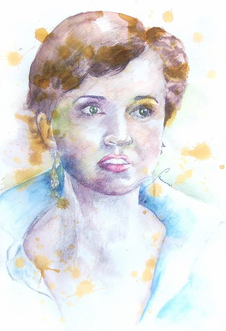 Amonaria Magda Maciaszek, Portret Magdaleny Woźniak, akwarela, 50x70 cm, 2014r.
