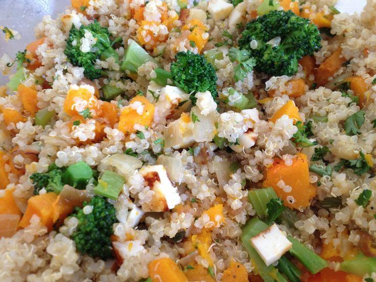 warm quinoa salad with 3 herb green sauce recipes dishmaps warm quinoa ...