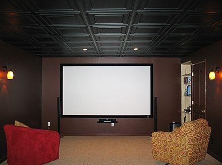 Black Ceiling Tiles Media Room Pinterest