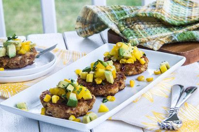 Crab Cakes With Tomatillo California Avocado Salsa Recipe — Dishmaps