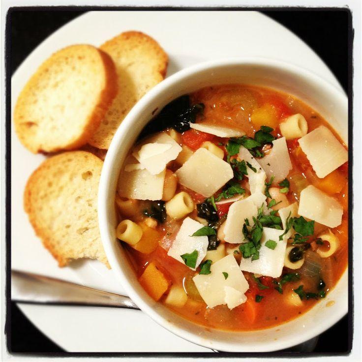Ina's Winter Minestrone with Garlic Bruschetta | Onions and ...