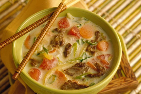 Thai Beef Soup with coconut, Lemongrass, and noodles