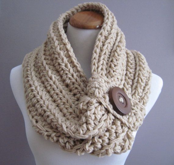 Cowl PATTERN Chunky Bulky Button Crochet Cowl: Off White, Windsor Blue ...