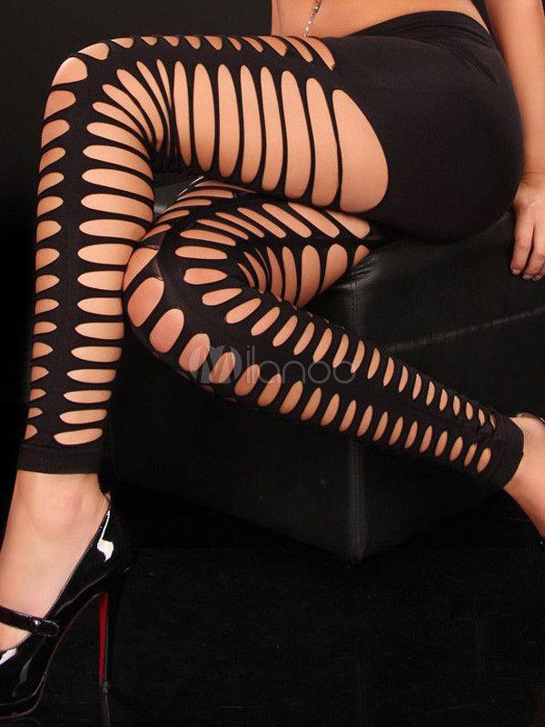 Black Cut Out Acrylic Woman's Leggings - Milanoo.com #Halloween_idea #sexy_clothing