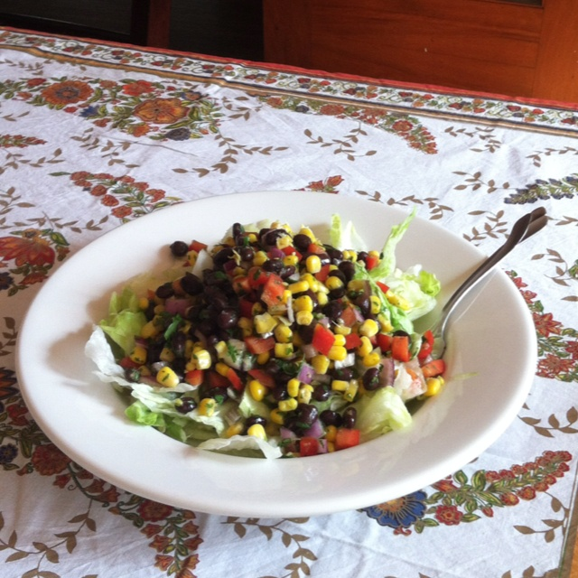 Fiesta salad! Mix a can of corn, a can of black beans, cilantro, olive ...