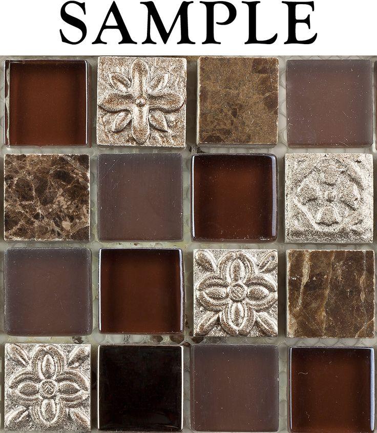 Tile Sample Kitchen Bathroom Fusion Shagbark 1x1 Marble Glass Tile