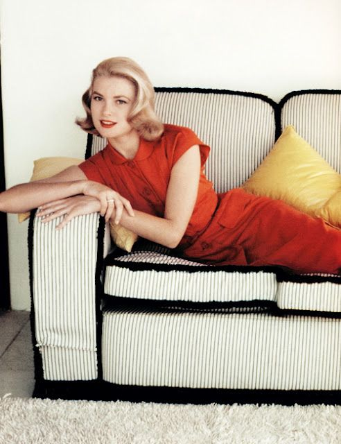 Grace Kelly, perched.