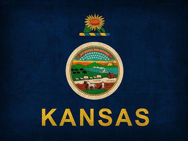 Kansas State Flag on Worn Canvas