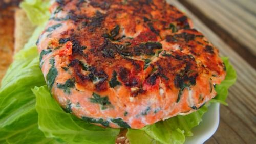 Feta Spinach Salmon Burger! | Yum! | Pinterest