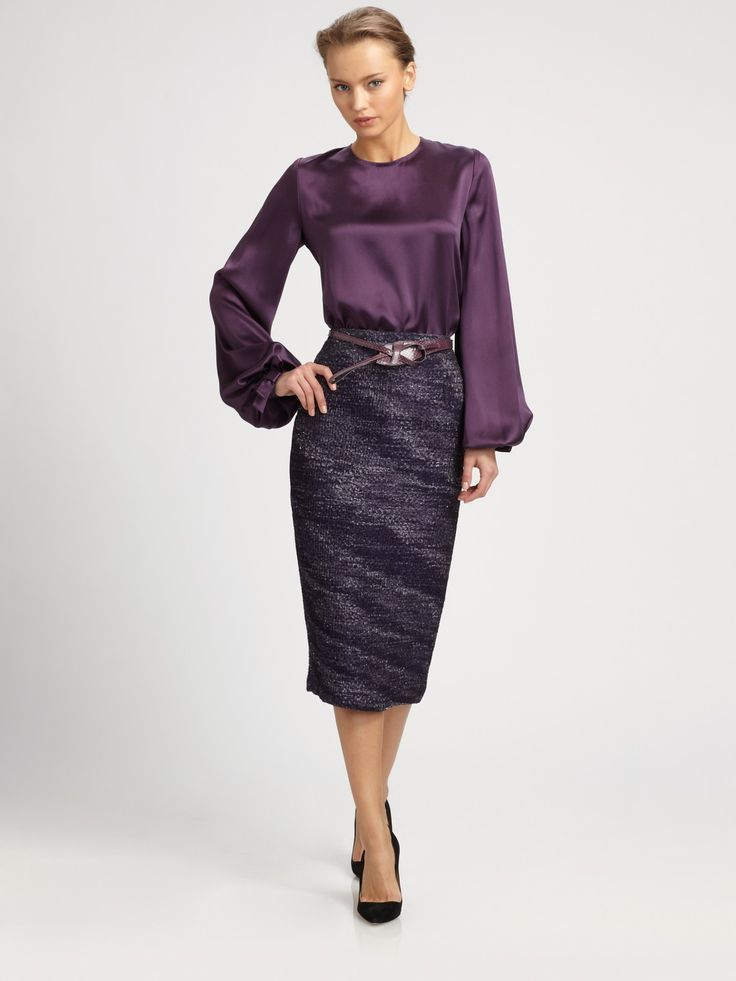satin blouse pencil skirt newhairstylesformen2014