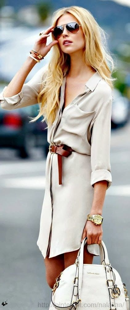 Gorgeous beige shirt dress, with a brown belt and large bag!  Women's street style fashion
