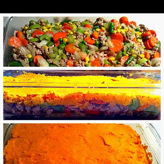 My GF Shepards Pie! I use Sweet Potatoes & Ground Turkey instead. Yumm ...
