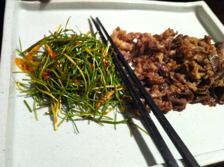 Roasted beef w/ chopsticks  https://www.facebook.com/KoreaTalk