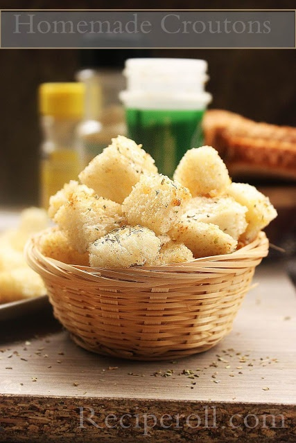How To Make Croutons At Home | Homemade Croutons ~ Sankeerthanam ...