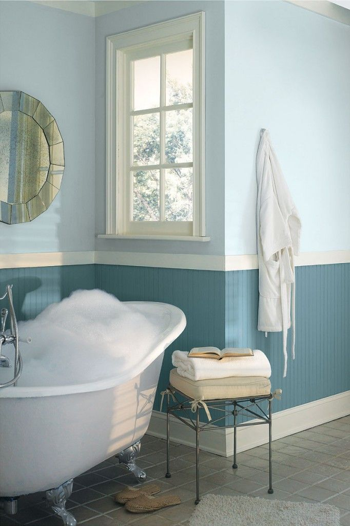 Two Tone Blue Bathroom With Beadboard For The Home