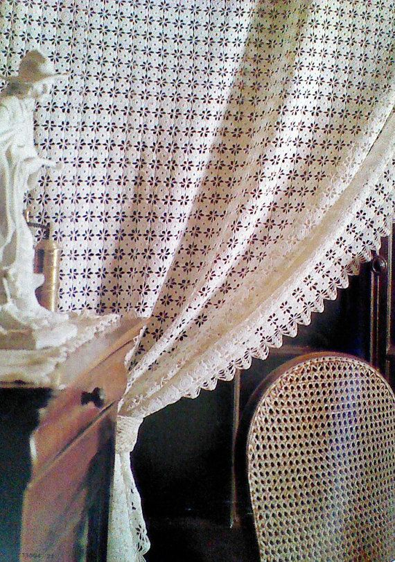 Crochet Curtain Patterns : Vintage Crocheted Curtain Pattern by MAMASPATTERNS on Etsy, $3.50
